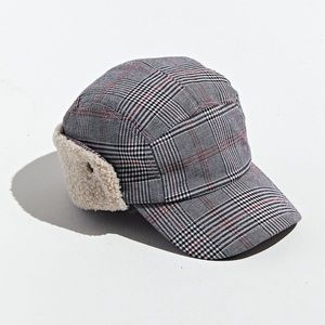 Urban Outfitters 5 Panel Plaid Cap Hat Ear Cover